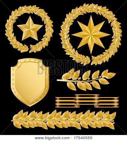 Raster Version Vektor Goldene Lorbeerkrone mit Sternen (enthalten den Beschneidungspfad aller Objekte)