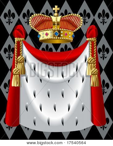 Raster version of vector image of the gold crown and a mantle (contain the Clipping Path of all objects)