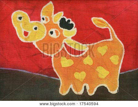 Image of my artwork with a orange bull on a red background
