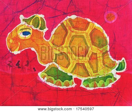 Image of my artwork with a tortoise in a cap on a red background