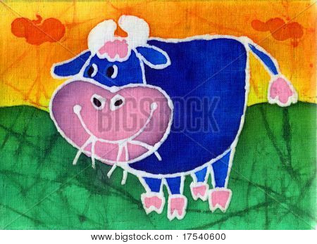Image of my artwork with a blue bull on a orange background