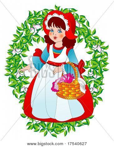 Raster version of vector Little Red Riding  Hood (contain the Clipping Path)