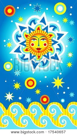 Raster version of vector card with a sun and waves (contain the Clipping Path of all objects)