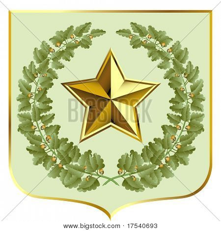 Raster version of vector green oak and a gold star on a escutcheon (contain the Clipping Path of all objects)
