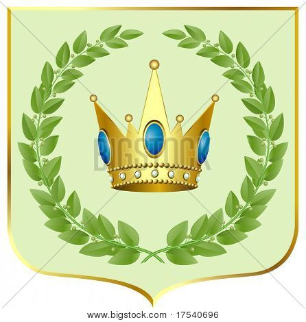 Raster version of vector green laurels with a gold crown on a escutcheon (contain the Clipping Path of all objects)