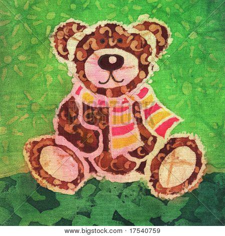 Imagen de mi obra de arte con un oso de peluche con una bufanda