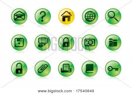 Raster version of vector green website and internet icons (contain the Clipping Path of all objects)