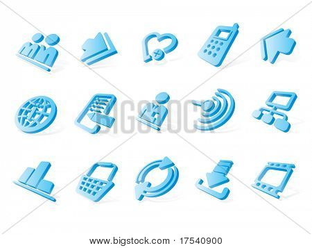 Raster version of vector blue website and internet icons (contain the Clipping Path of all objects)