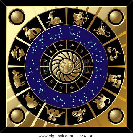 Raster version of vector gold circle with the signs and the constellations of the zodiac (contain the Clipping Path of all objects)