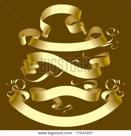 Raster version of vector set of old gold banners (contain the Clipping Path of all objects)