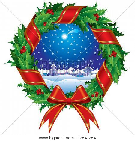 Raster version of vector holly wreath with a city view (contain the Clipping Path of the wreath)