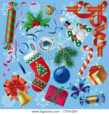 Raster version of vector set of Christmas and New-Year's decorations (objects, background and border elements) Contain the Clipping Path of all objects