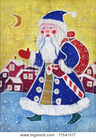 Image of my batik artwork with Santa Claus walking on a city