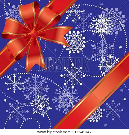 Raster version of vector Christmas gift seamless (contain the Clipping Path of the ribbon)