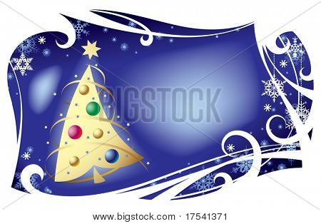 Raster version of vector Christmas card with a silver christmas tree