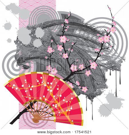 Japan fan with a blooming branch, a grey blot and a rose seamless