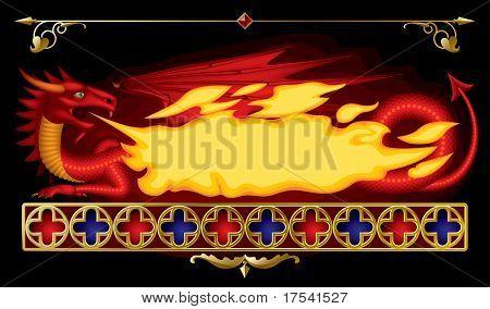 Versão raster de banner de vetor em forma de dragão vermelho