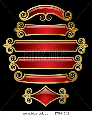 Raster version of vector set of red-gold banners