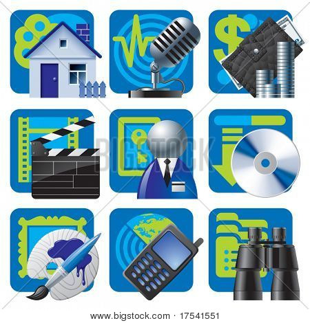 Raster version of vector set of blue website and internet icons 2
