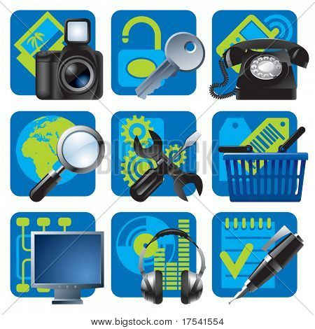 Raster version of vector set of blue website and internet icons 1