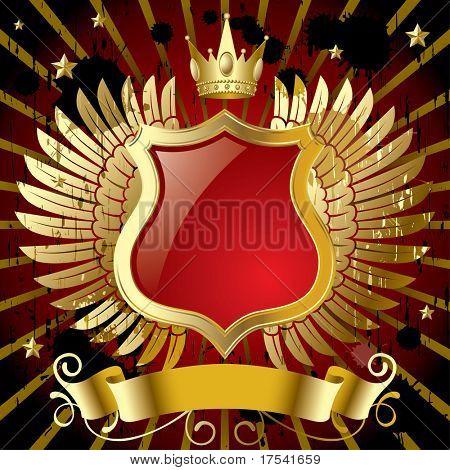 Banner Vector rojo con alas de oro
