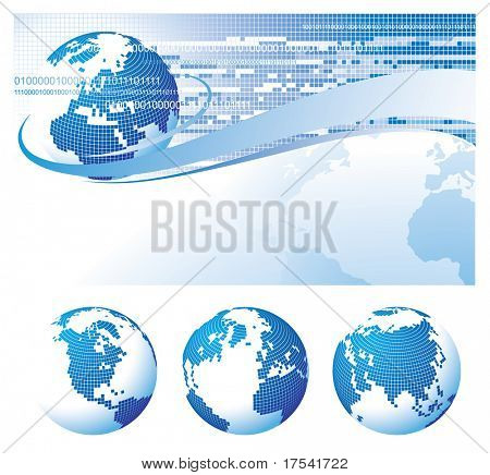 Raster version of vector template background with a globe