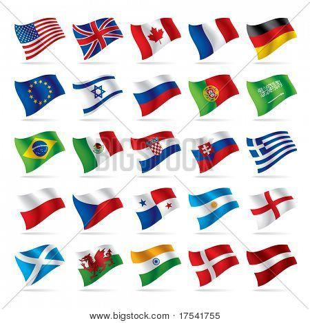 Versión de trama aislada del conjunto de vector de banderas del mundo 1 (contiene la ruta de recorte de todos los objetos)
