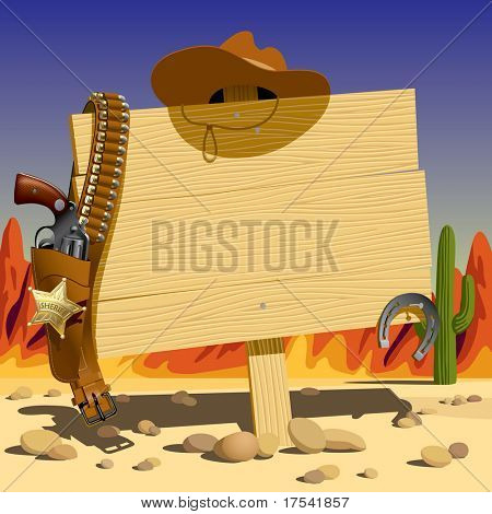 Raster version of vector illustration with a wood sign in the Wild West