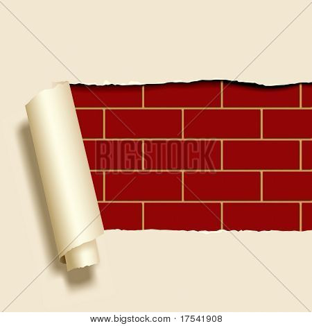 Vector image of ripped paper on a brick-wall