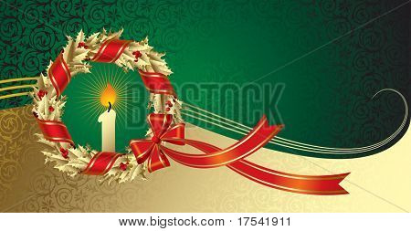 Vector Christmas & New Year's greeting card with a gold holly wreath