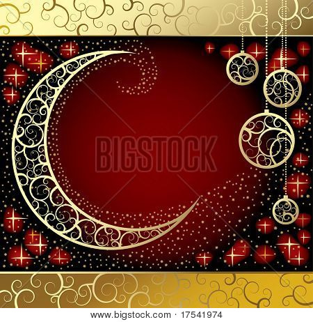 Vector Christmas & New-Year's card with a moon