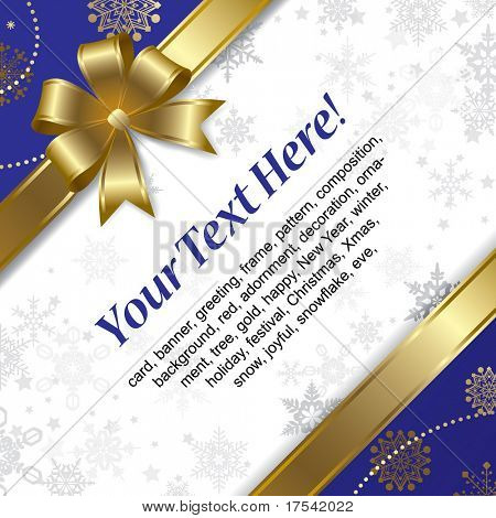Vector Christmas & New-Year's greeting card with a gold ribbon