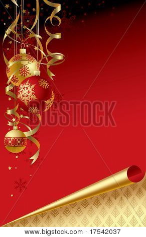 Raster version of vector Christmas & New-Year's greeting card