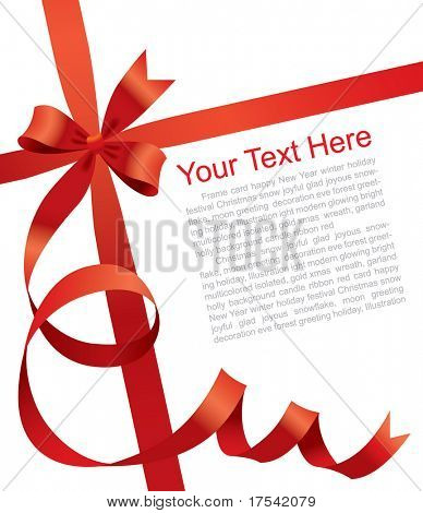 Vector Christmas & New Year's greeting card with a red ribbon