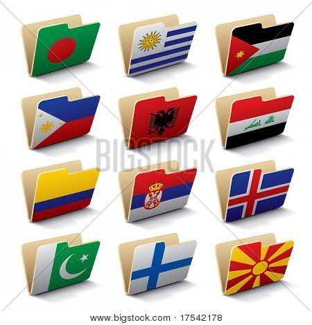 Set 5 of folders icons with world flags. Isolated raster version (contain the Clipping Path of all objects)