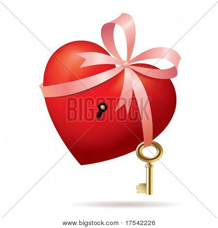 Isolated raster version of vector red heart with a gold key (contain the Clipping Path)