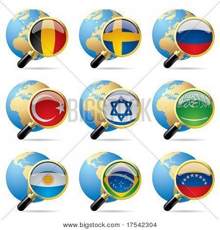 Vector zoom mundo bandeira ícones com um globo