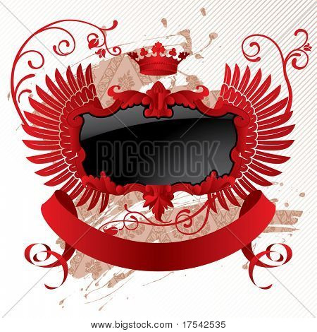 Isolated raster version of vector classic red-black banner with wings (contain the Clipping Path)