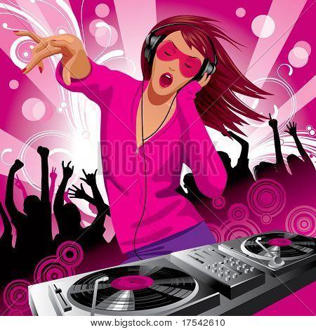 Vector de la imagen de la hermosa chica de DJ y gente bailando en una fiesta