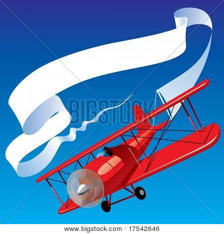 Isolated raster version of vector image of vintage red airplane with blank banner in the sky (contain the Clipping Path)