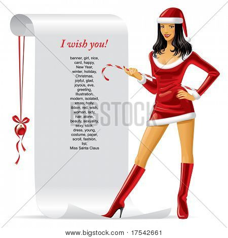 Vector image of sexy Miss Claus with a Christmas & New Year's roll