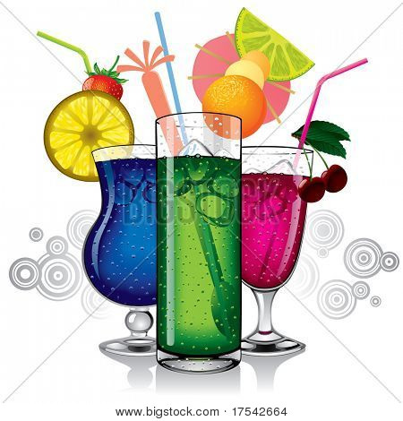 Vector image of group of cocktails