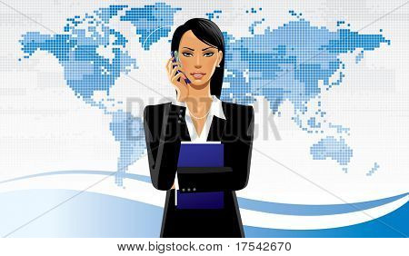 Isolated raster version of vector image of a business women on the world map background (contain the Clipping Path of the girl)