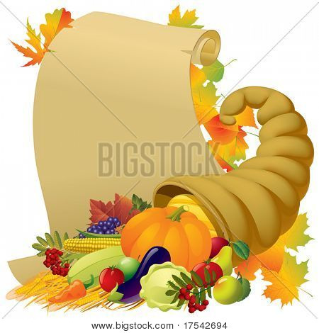 Raster version of vector image of a scroll with the Horn of Plenty and vegetables