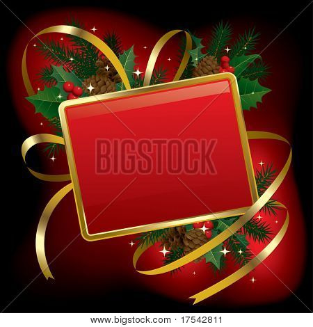 Isolated raster version of vector Christmas and  New Year red  banner (contain the Clipping Path)