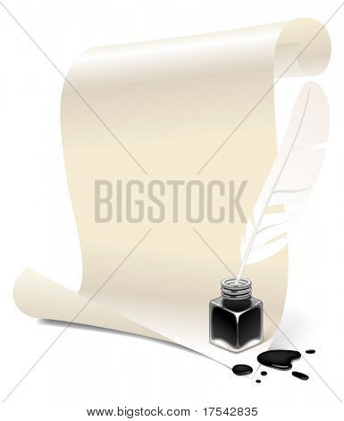 Isolated raster version of vector banner in the form of white paper with an inkwell and feather (contain two Clipping Paths: 1 - paper, feather, inkwell, blots; 2 - feather, inkwell, blots)