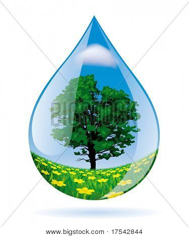 Vector image of a water drop with a landscape