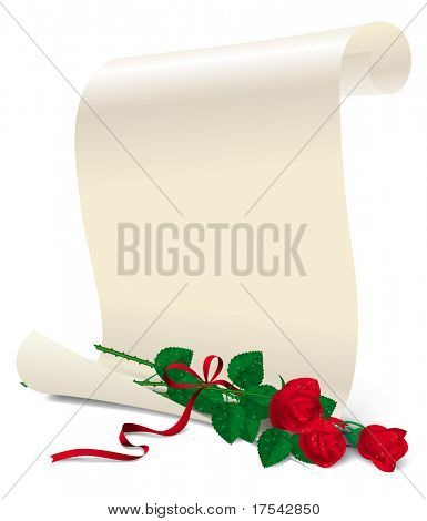 Isolated raster version of vector image of a white paper with three red roses (contain the Clipping Path)