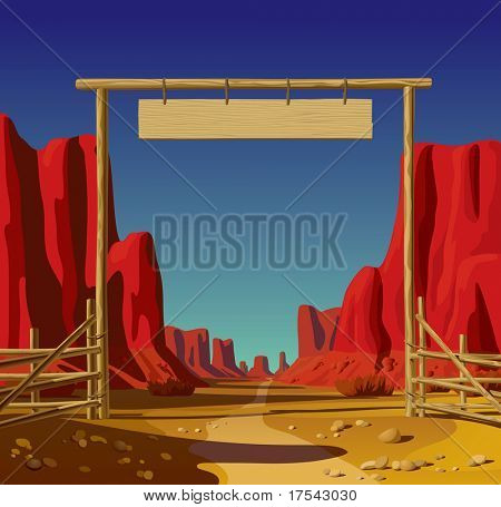 Raster version of vector illustration of a farm gate in the Wild West