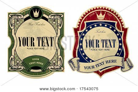 Vector image of two vintage labels